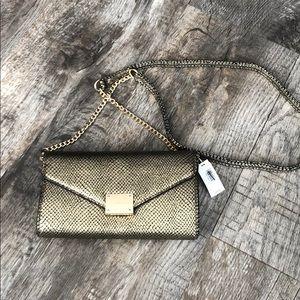 Express gold wallet clutch crossbody bag purse NWT